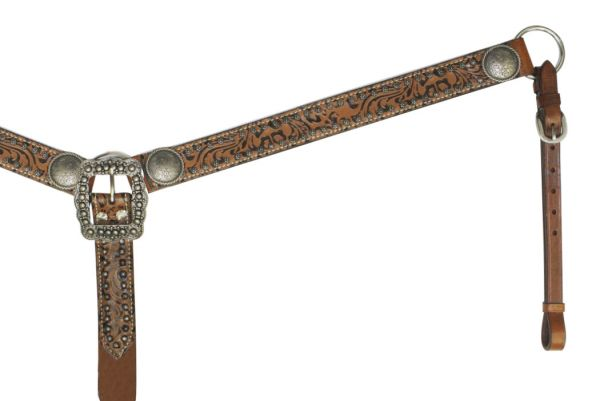 Filigree Overlay Breast Collar with Engraved Conchos.-Filigree Overlay Breast Collar with Engraved Conchos.