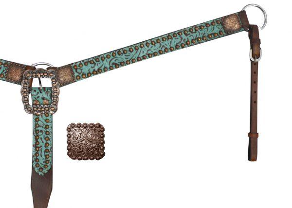 Belt Style Leather Filigree Print Breast Collar.-Belt Style Leather Filigree Print Breast Collar.