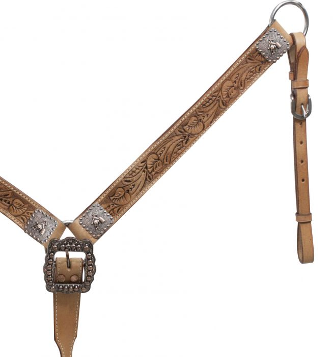 Belt Style Tooled Leather Breast Collar with Barrel Racer Conchos.-Belt Style Tooled Leather Breast Collar with Barrel Racer Conchos.