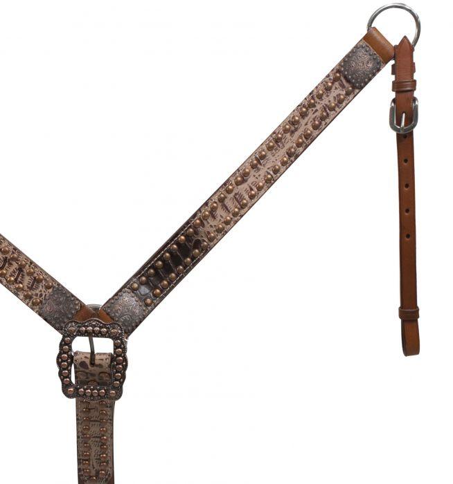 Belt Style Leather Alligator Print Breast Collar.- Belt Style Leather Alligator Print Breast Collar.