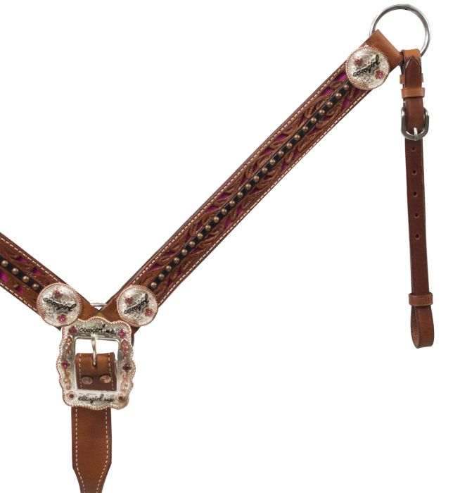 Belt Style Leather Cowgirl Up Breast Collar.-Belt Style Leather Cowgirl Up Breast Collar.