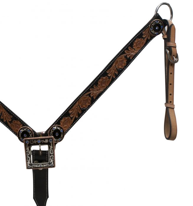 Black Belt Style Leather Breast Collar with Antique Conchos-Black Belt Style Leather Breast Collar with Antique Conchos