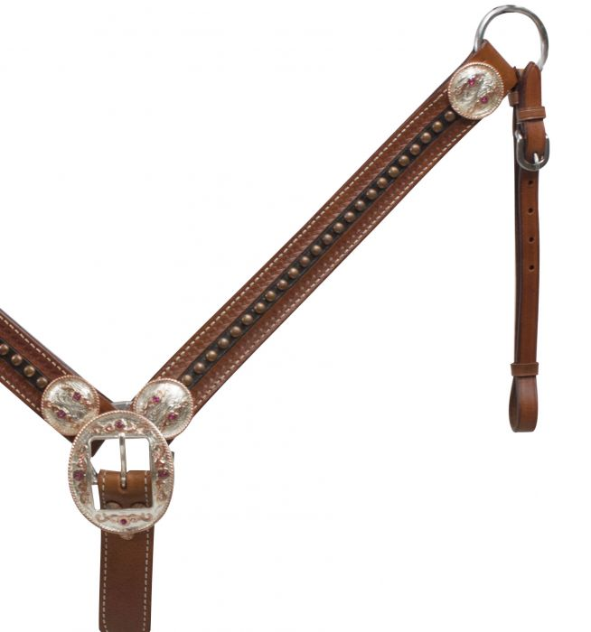 Belt Style Leather Breast Collar with Rose Gold Accents.-Belt Style Leather Breast Collar with Rose Gold Accents.