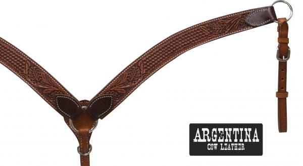"1 3/4"" Argentina cow leather breast collar with floral and basket weave tooling"