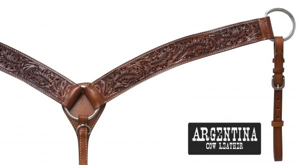 "2"" Argentina cow leather breast collar with oak leaf tooling"