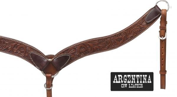 "2 1/4"" Argentina cow leather contoured breast collar with floral tooling-2 1/4 Argentina cow leather contoured breast collar with floral tooling"