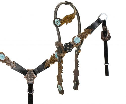 One ear headstall with cut out filigree tooling accented teal painted tooled flower- One ear headstall with cut out filigree tooling accented teal painted tooled flower