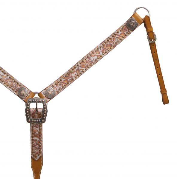 Argentina cow leather belt style breast collar with burnt orange floral overlay and copper barrel racer conchos.- Argentina cow leather belt style breast collar with burnt orange floral overlay and copper barrel racer conchos.