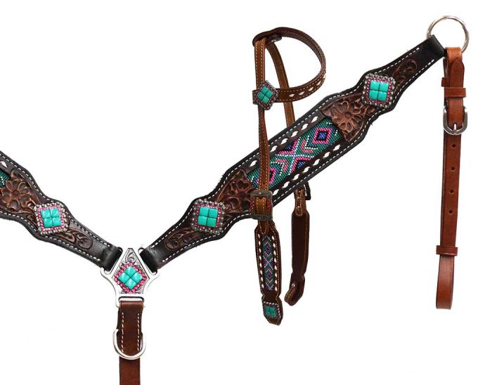 Headstall and breast collar with beaded inlay-Headstall and breast collar with beaded inlay