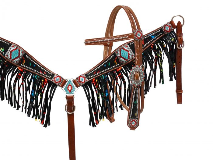 Metallic rainbow acid wash cowhide fringe headstall and breast collar set
