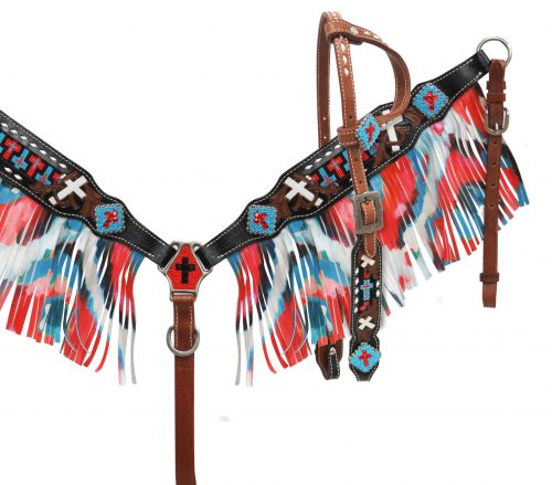 Single ear headstall and breast collar set with fringe- Single ear headstall and breast collar set with fringe
