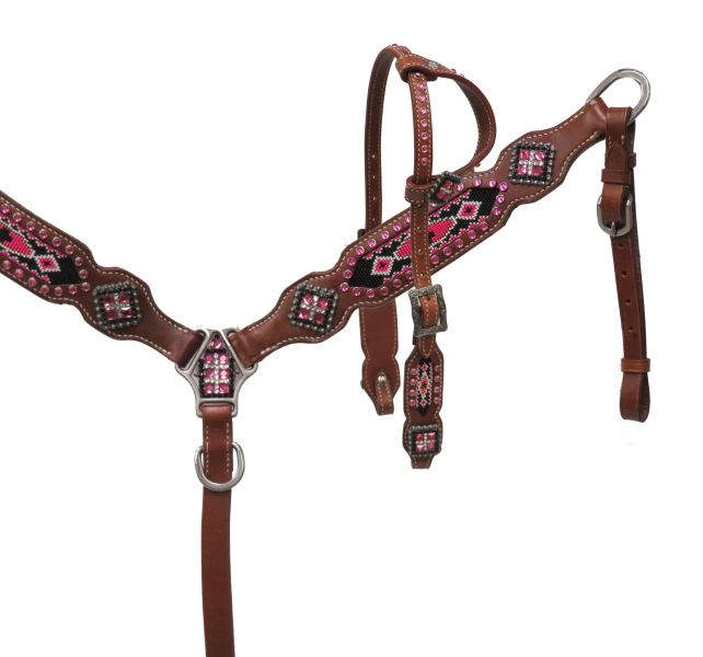 PONY headstall and breast collar set with beaded inlays-PONY headstall and breast collar set with beaded inlays