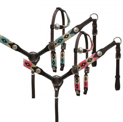 Horse size wrap embroidered headstall and breast collar set