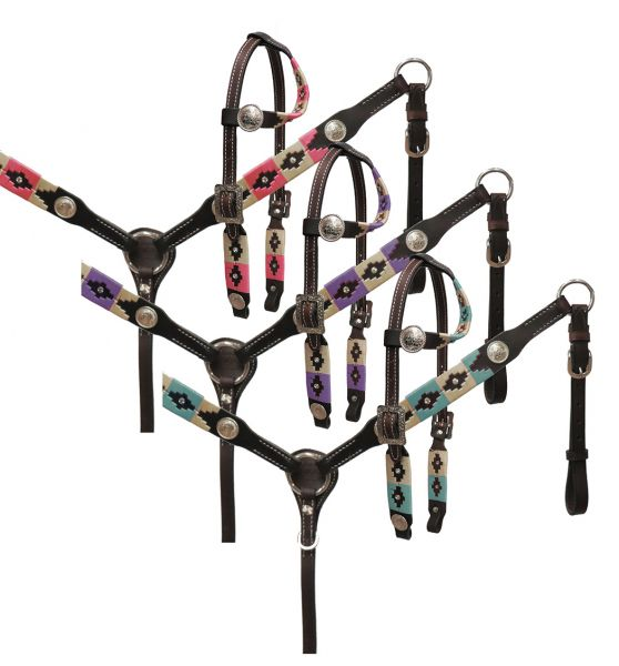 PONY wrap embroidered headstall and breast collar set