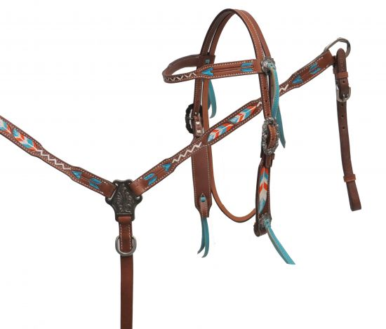 Painted feather and arrow headstall and breast collar set