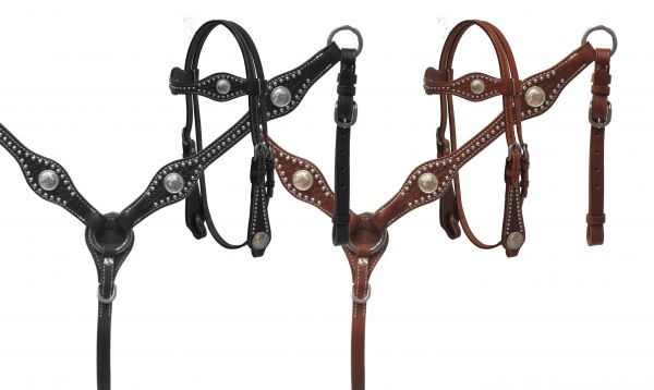 PONY headstall and breast collar set with silver conchos and basket weave tooling