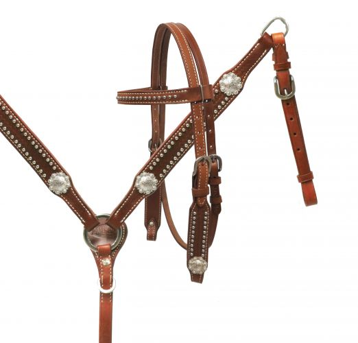 PONY headstall and breast collar set with silver conchos-PONY headstall and breast collar set with silver conchos