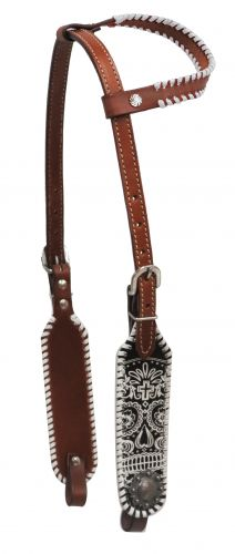 White laced single ear sugar skull headstall
