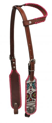 Pink laced single ear sugar skull headstall