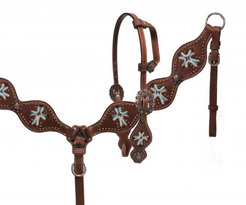 Beaded cross inlay headstall and breast collar set- Beaded cross inlay headstall and breast collar set