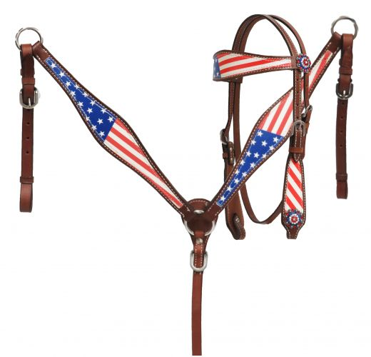 Pony Size  American flag headstall and breast collar set