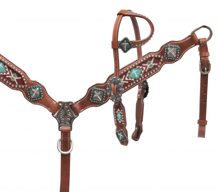 PONY One ear headstall with teal beaded inlay- PONY One ear headstall with teal beaded inlay