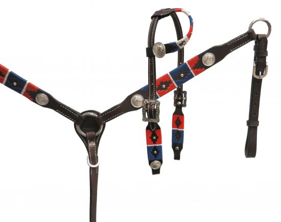 PONY wrap embroidered headstall and breast collar set-PONY wrap embroidered headstall and breast collar set