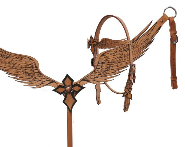 Angel wing headstall and breast collar set with cross