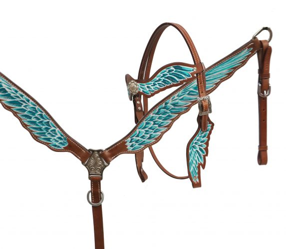 Teal and white painted headstall and breast collar set