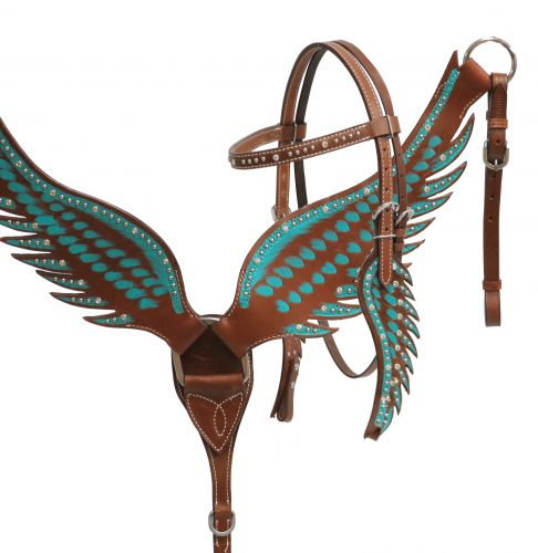 Teal angel wing headstall and breast collar set