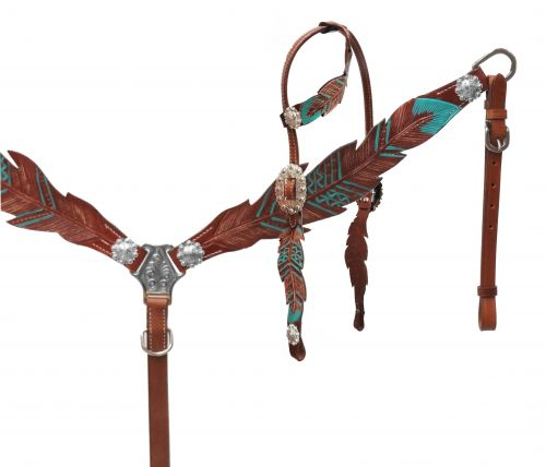 Cut- out teal painted feather headstall and breast collar