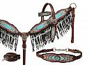 Antique inspired print overlay headstall, breast collar and wither strap set with pearl fringe