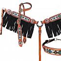 4 Piece beaded navajo cross headstall and breast collar set