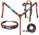 Beaded Turquoise Aztec 4 Piece Headstall and Breastcollar Set