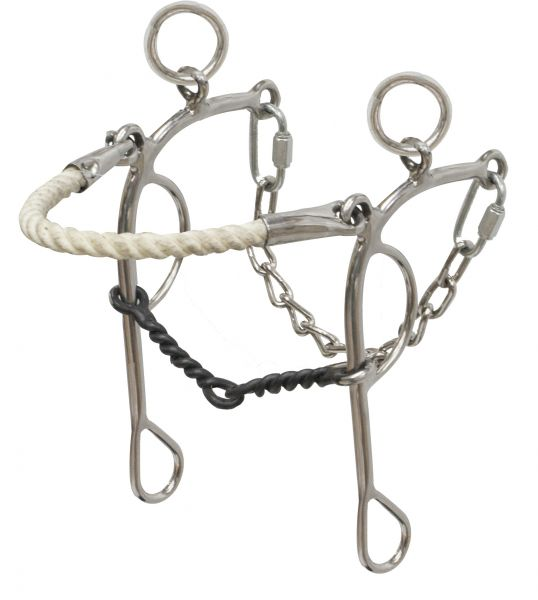stainless steel rope nose combo hackamore/gag-stainless steel rope nose combo hackamore/gag