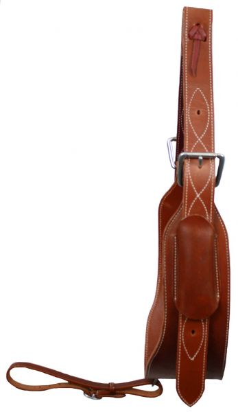 "heavy duty 5"" wide leather back cinch with 1 3/4"" billet straps and girth connector strap"