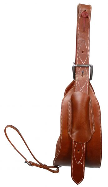 "heavy duty 7"" wide leather back cinch with 1-3/4"" billet straps and girth connector strap"