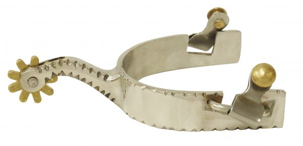 Men's stainless steel spurs with brass rowel.