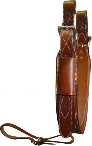"Premium leather heavy duty 3"" wide leather back cinch with roller buckles"