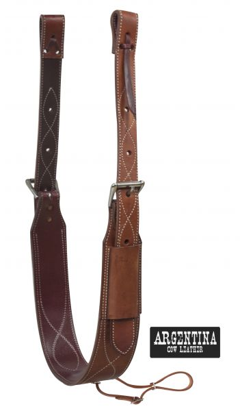 "3"" wide Argentina Cow Leather back cinch with roller buckles"