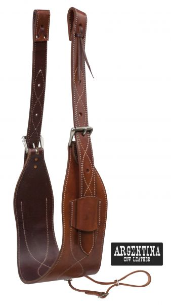 "7"" wide contoured Argentina Cow Leather back cinch with roller buckles"