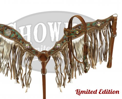 LIMITED EDITION Metallic painted headstall and breast collar set