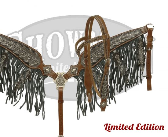 LIMITED EDITION  Black oak leaf fringe set.-LIMITED EDITION  Black oak leaf fringe set.
