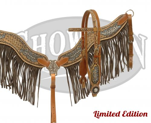 LIMITED EDITION  Hand painted headstall and breast collar set with fringe