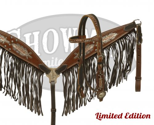 LIMITED EDITION  Metallic painted feather headstall and breast collar set-LIMITED EDITION  Metallic painted feather headstall and breast collar set