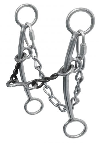 sweet iron, twisted mouth bit with dogbone and curb chain- sweet iron, twisted mouth bit with dogbone and curb chain