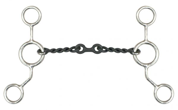 "Stainless steel JR cowhorse snaffle bit with 6"" cheeks, 5"" sweet iron twisted mouth and dog bone center.-Stainless steel JR cowhorse snaffle bit with 6 cheeks, 5 sweet iron twisted mouth and dog bone center."