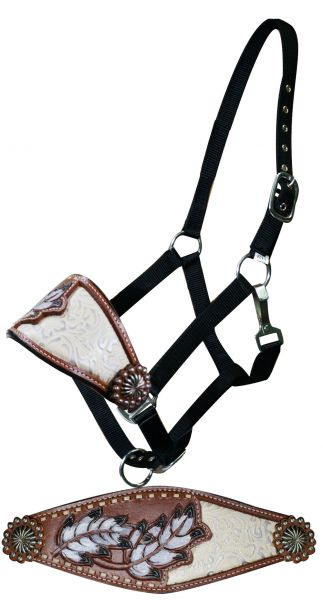 Adjustable nylon bronc halter with painted feather and filigree inlay noseband.