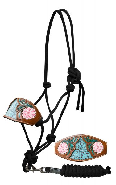 Bronc nose cowboy knot halter with painted floral tooled noseband