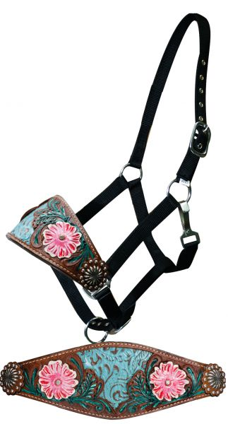 Adjustable nylon bronc halter filigree inlay and painted floral tooled noseband